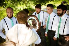A little mid-wedding day promise to the bride.... that the groom would shave his beard ;) Brittany & Dave's coral & mint, DIY Virginia wedding. Images by Traci J Brooks Studios.