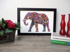 Quadro Pop Art - Elefante #quadro #quadros #decoracao #decorativo #decorar #naparede #wall #popart #pop #art #cores #ilustracao #fofo #retro #topquadros #lojaonline