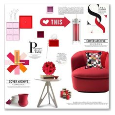 """Red interior"" by snje2105 ❤ liked on Polyvore featuring interior, interiors, interior design, home, home decor, interior decorating, Improvements, Cappellini, Claire Gaudion and Lassen"