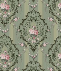 Pink and green vintage wallpaper #vintage #pink #green #roses