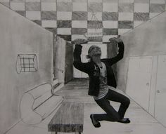 create a crazy environment (perspective drawing) then add picture of you in it