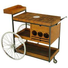 Arthur Umanoff; White Oak, Mahogany and Polished Aluminum Bar Cart, 1950s.