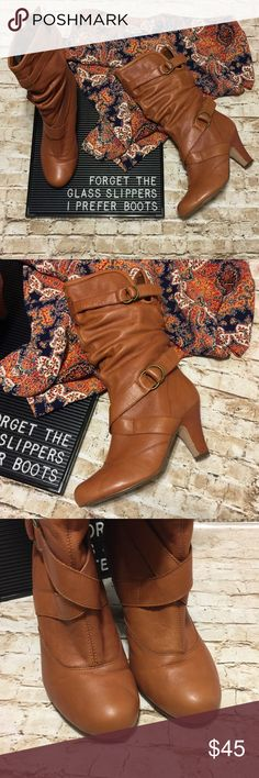 Steve Madden Cognac Boots Adorable cognac color boots by Steve Madden have a fully adjustable calf which is perfect for wide calf and narrow calf ladies. Buckles. Super clean and comfortable. Does have a small heel on it. Great condition, with just normal wear as shown in pics, some minor scuffing but more wear is just on the bottoms. Steve Madden Shoes Heeled Boots