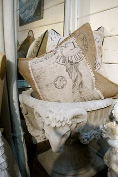 burlap-french pillows