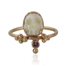Pearl & Pink Sapphire Memento Mori Ring by Christine Mighion - Eco friendly recycled 14k gold, hand carved natural white pearl, and natural pink sapphire