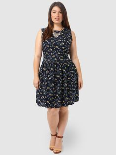 Owl Print Dress by Kristin Miles,Available in sizes 1X-3X