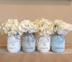 Baby Blue Chalk Painted Mason Jar DIY Ideas