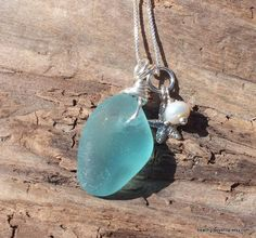 Sea Glass Necklace RARE Aqua Beach Lake Erie by beachglassshop, $42.00