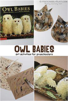 Owl Babies Activities - Preschool art extension activites for the book Owl Babies by Martin Waddel