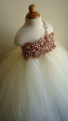 Flower girl dress Ivory tutu dress, chiffton roses, baby tutu dress, toddler tutu dress,newborn-24, 2t,2t,4t,5t, birthday