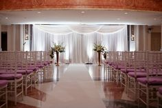 pipe and drape- this is amazing Rustic Wedding Gowns, Wedding Venues, Wedding Ceremony, Wedding Picture Walls, Indoor Ceremony, Church Ceremony, Reception, Table Place Settings, Pipe And Drape