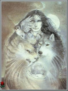Medicine Woman with her spirit animal guides and crystal orb. Owl, cat, wolf...all on our totems. We use crystals in energy based healing practices and this artwork is in our healing room.~♥~ ~♥~  ♥~  ~♥~