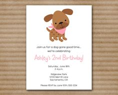 Printable Girl Dog Birthday Party Invitation 1200 via Etsy by