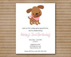 puppy birthday invitation dog birthday party girl printable pdf file printed invitations - Dog Birthday Party Invitations