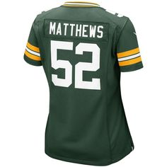 Nike Women's Clay Matthews Green Bay Packers Game Jersey ($95) ❤ liked on Polyvore featuring green et nike