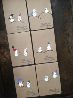 Finger print snowmen thank you cards from Audrey Pettit