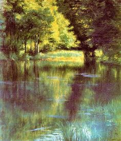 Podkowinski, Wladyslaw - 1894 Lake in the Park French Impressionist Painters, Art Academy, Claude Monet, Beautiful Artwork, Painting Inspiration, Watercolor Paintings, Art Photography, Around The Worlds, Fine Art