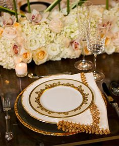 Kathy G. & Co.   Arden Photography   Golden Reception Place Setting