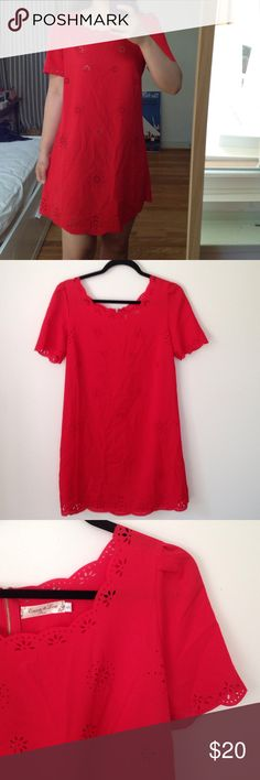 !20% off 2+ bundle sale! Lady in Red tea dress Gone by 9/6! Beautiful red tea dress with scalloped edges and pleated shoulders. in great condition- few small stains in the front, but not noticeable at all. None Dresses Mini