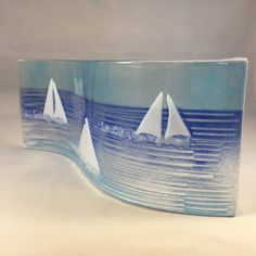 Nautical Glass S Curved Plaque,Candle Display, Racing Sailing Boats, Fused Glass, Home Decor, Gift for her, Birthday Gift, Mothers Day Gift by WarmGlassFusion on Etsy