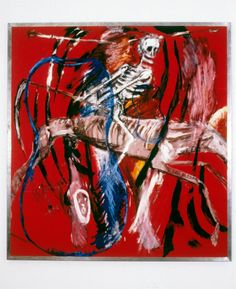 """Julian Schnabe (B 1951)l: Death (1980). Julian Schnabel is an American artist and filmmaker. In the 1980s, Schnabel received international media attention for his """"plate paintings""""—large-scale paintings set on broken ceramic plates."""