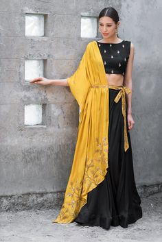Buy Mustard & black satin cotton sequin & zari work lehenga with blouse by Prathyusha Garimella at Aza Fashions Lehenga Choli Designs, Indian Attire, Indian Wear, Indian Designer Outfits, Designer Dresses, Indian Designers, Indian Dresses, Indian Outfits, Indian Clothes