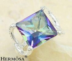 Rainbow Outstanding Fire Mystical Topaz 925 Sterling Silver Ring Size 6,U1985