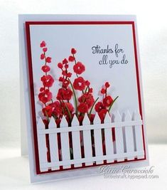 Hollyhocks Die and Stamp, Picket Fence, Tall Grass