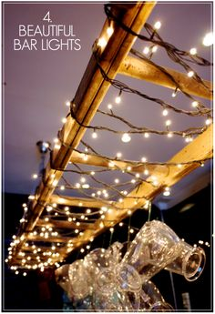 I think above the dining table outside would be beaut!  Creative Find - Black Sheep Bar Lighting Fairy Lights Ladder