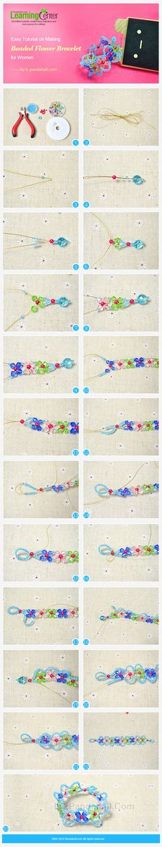 Easy Tutorial on Making Beaded Flower Bracelet for Women