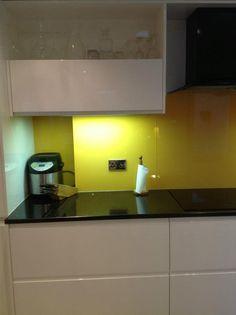 Kitchen Backsplash Yellow kitchen backsplash in narrow chartreuse yellow green glass subway