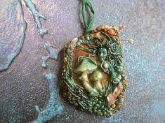 Fairy forest art pendant collectible necklace forest green