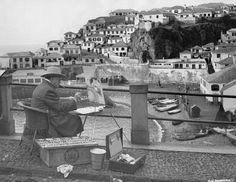 Winston Churchill painting the Madeira Island landscape, Portugal