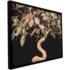 Dean Uhlinger Pastel Bonzai Floater-Framed Gallery-Wrapped Canvas, Size: 14 x 18, Green