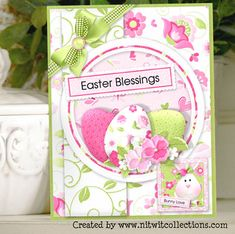 Easter egg dye gives the inspiration for this bright Easter card.  Don`t forget to say hi to the Easter Bunny! FQB - Good Hare Day Collection from Nitwit Collections