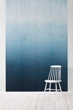 Wallpaper by ellos Macy's, background wallpaper, petrolinsin ombre blue fade wall with white chair and floor