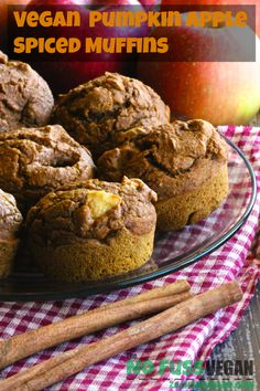 Vegan Pumpkin Apple Spiced Muffins are the perfect fall treat! 100% white sugar free, these delectable little treats are a great snack or breakfast!