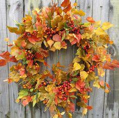 Fall Wreath - Fall / Autumn Wreath - Fall Wreath in Fall Yellows and Greens