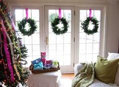 How to hang Christmas Wreaths and other simple decorating ideas. I should do this to my front windows. Christmas Time Is Here, Merry Little Christmas, Days Until Christmas, Christmas And New Year, Winter Christmas, All Things Christmas, Scandi Christmas, Xmas, Christmas 2017
