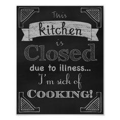 Kitchen chalkboard art poster.