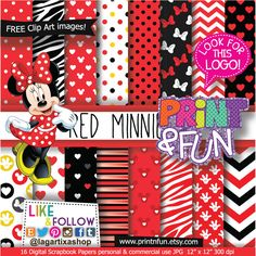 Minnie Mouse Classic Red Digital Paper Patterns and FREE Clip art - Digital…