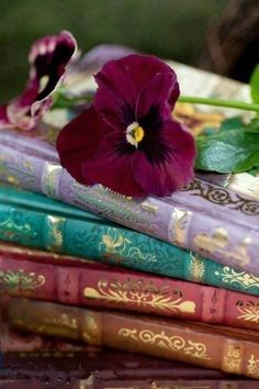 Two of my favorite things. Pansies and Books.