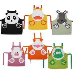 Sewing Projects For Children Pandas and ducks and dogs - oh my! Choose from a variety of animals with these fun, colorful childrens' aprons. Sewing Projects For Kids, Sewing For Kids, Baby Sewing, Sewing Crafts, Sewing Tutorials, Sewing Patterns, Childrens Aprons, Cute Aprons, Fabric Purses