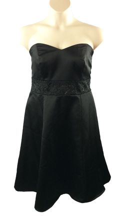 Womens David's Bridal Black Dress Size 16 Black Beading Empire Waist Strapless…