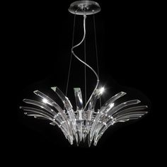 Surf Suspension is available in a Chrome finish with Crystal glass. Available in a 6 or 9 light option. 40 watt, 120 volt base Halogen lamps are required but not included. Six Light: inch width x inch height. Nine Light: inch width x inch height. Pendant Lighting, Chandelier, Lighting Online, Chrome Finish, Light Up, Surfing, Pendants, Ceiling Lights, Surf