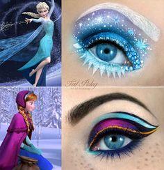 A maquiadora Tal Peleg postou estas maquiagens incr�veis de olhos, com desenhos baseados nas duas personagens principais do filme Frozen da Disney. | Esta arte de maquiar o olho como princesa da Disney � deslumbrante