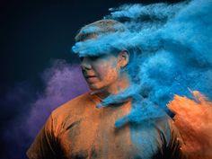 holi color powders on man, Ars Thanea Portraits Powder Paint Photography, Smoke Photography, Creative Portrait Photography, Fine Art Photography, Splash Photography, Holi Festival Of Colours, Holi Colors, India Colors, Portrait Photo Original