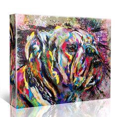 Bulldog Art Bulldog Canvas English Bulldog painting by RyanRArt