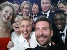 Most Epic Oscars Selfies | COUNTING STARS | Roll call! Anyone who's anyone – including nominees Jennifer Lawrence, Meryl Streep Julia Roberts, Brad Pitt, Bradley Cooper and many more familiar faces – surround host Ellen DeGeneres for the selfie to end all selfies. The mid-show portrait now holds the record for most re-Tweets of all time.