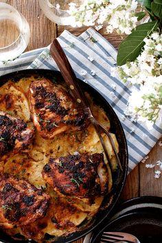 One Pan Rotisserie Chicken with Potato Gratin.